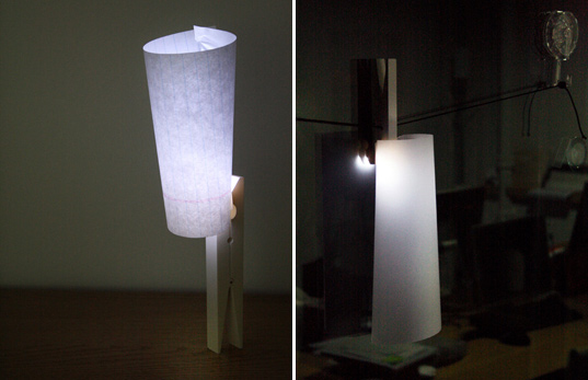 energy efficient lighting, clothes pin, repurpose, lighting, LED light, Korean Design, illuminate, DIY