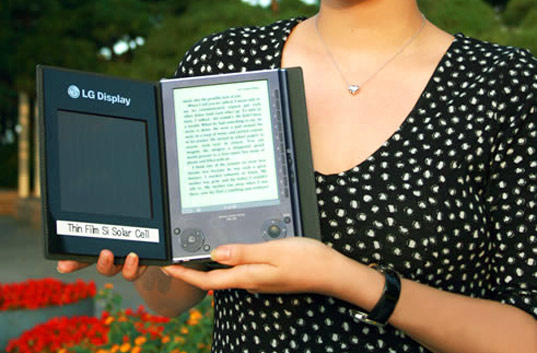 sustainable design, green design, e-book, electronic book reader, solar e-book, lg display, green gadgets