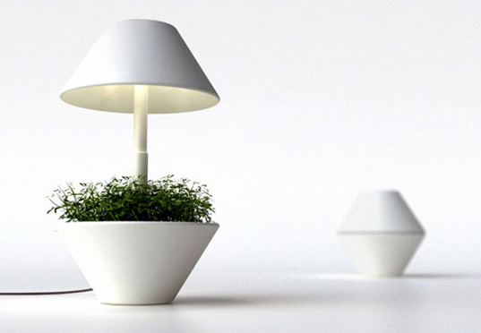 lightpot, green design, sustainable design, led table lamp, potted led lamp, interior design, indoor planters, energy efficient light