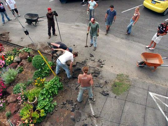 depave, city repair, portland nonprofit, volunteer building, urban greening