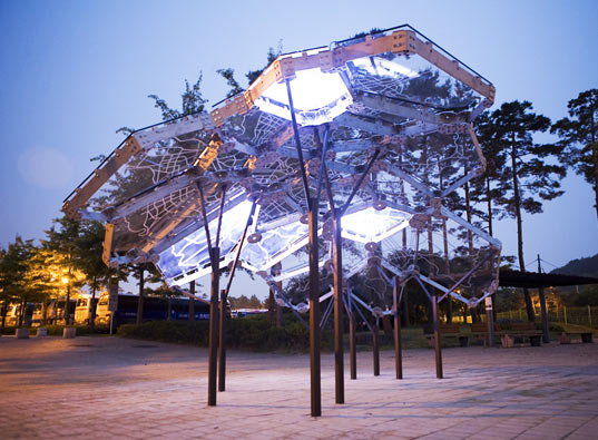 sustainable design, green art, environmental art, light installation, living light, seoul, south korea, air quality