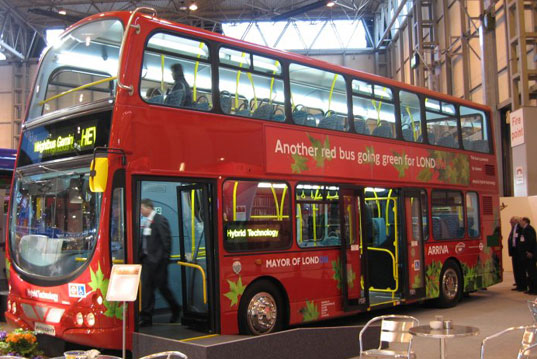 London hybrid bus, london double decker bus, hybrid bus, double decker diesel bus, green buses, green public transportation, sustainable travel, greener emission bus, lower emission bus, hybrid transportation