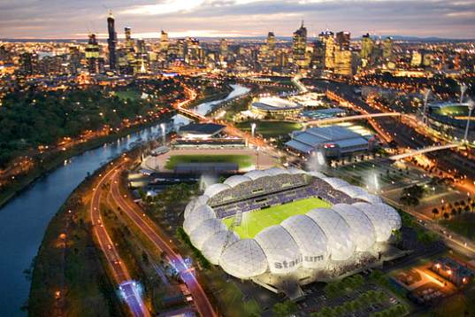 melbourne rectangular stadium, melbourne, australia, sports stadium, stadium, geodesic dome, LED, rainwater collection