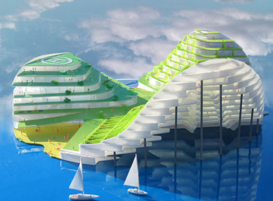 Mermaid building, JDS Architects, floating architecture, floating buildings, dolphin building, mermaid architecture, aquatic building