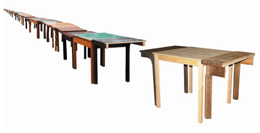 Volksware, Meterware, scrap table, recycled tables, reused tables, Silke Wawro, Amsterdam design studio