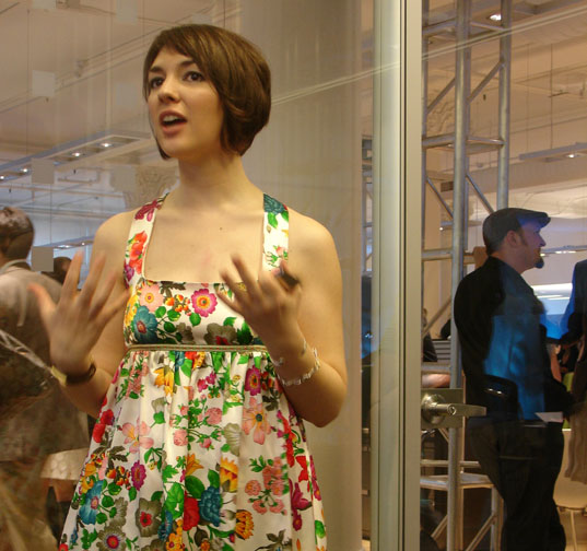 PROJECT EARTH DAY: Eco Fashion Show, Show organizer Molly Garretson in Bahar Sharpar dress, Photography by Jill Fehrenbacher, Emerging Green Builders Eco Student Fashion Show, Jill Danyelle Fashion Judge, Student Fashion Design contest