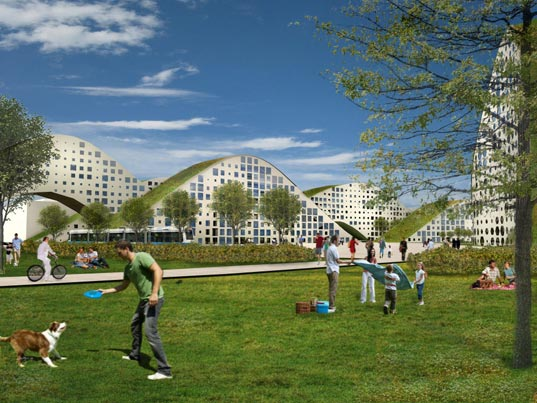 kjellgren kaminksy architects, new heden, urban design, sustainable architecture, green building, kjellgren kaminsky new heden, green roof, sustainable urban development