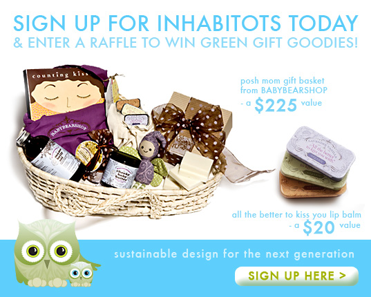 Inhabitots, Inhabitots launch, Inhabitots owls, Habby, the inhabitat Owl, Inhabitat baby site, Inhabitat baby, gift basket giveaway