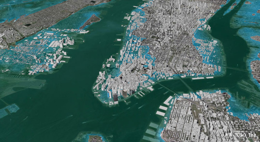 New York flooded under future global warming sea-level rise, global warming, sea level rise will cause NYC to flood, manhattan flood zones, architecture2030, Ed Mazria, how will rising sea-levels affect Manhattan