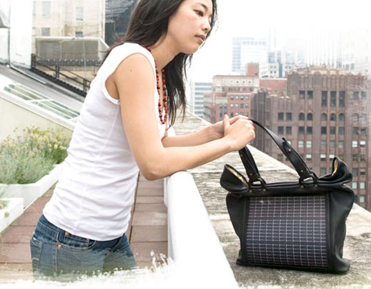 Inhabitat back to school giveaway contest', Noon Solar, Solar powered bag, solar power hand bag, solar purse, power purse