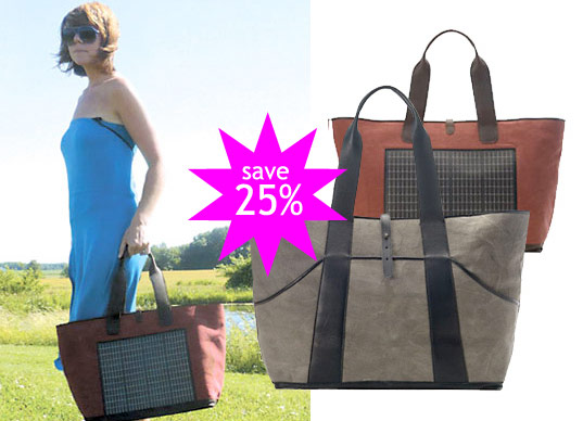 noon solar, oakley tote, inhabitat shop, solar accessories, eco chic accessories, solar powered bags