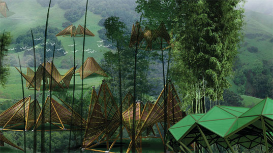 re:construct design competition, ming trang folding bamboo house, renewable materials, sustainable architecture, design for disaster, green building, recycled materials