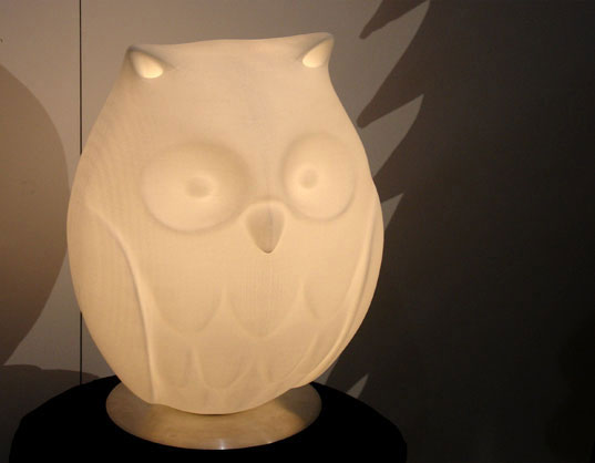 RICK LEE'S NIGHT OWL LAMP, Rick Lee 3D printed Owl Lamp, Ouroborus, digital furniture design, digital lighting design, owl lamp, Habby owl lamp, 3D printing, natural furnis