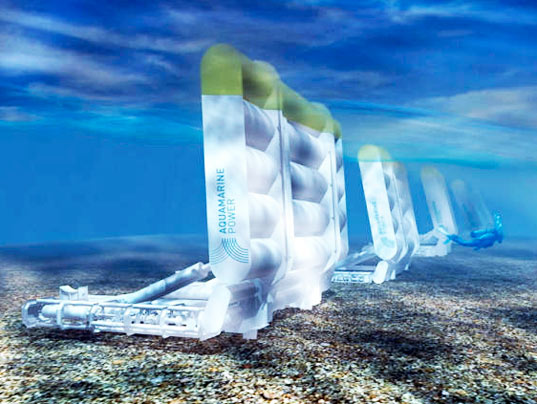 sustainable design, green design, renewable energy, wave power, electricity, aquamarine power, hydroelectric power, ocean
