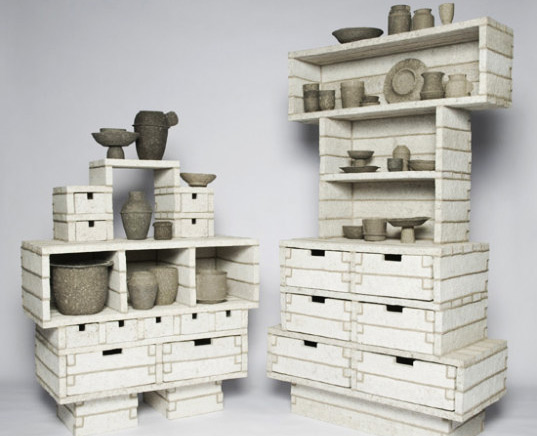 debbie wijskamp, paperpulp cabinet, eco friendly furniture, recycled materials furniture