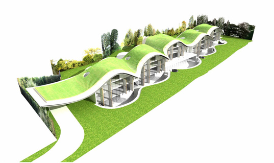 ushida findlay architects, park house complex, green roof, solar panels, sustainable architecture, green building, green design, eco-friendly house