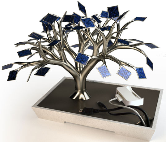 solar tree charger, solar charger, vivien muller, photosynthese, decorative solar product, photovoltaic cells, solar power for home