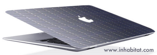 Greener Apple, Green my mac, green my apple, greener gadgets, apple solar power, mac solar power, mac solar patent, apple solar patent, green electronics, solar apple, solar mac, solar iPod, solar Macbook, solar power book, solar iPhone, Inhabitat rendering of MacBook with solar power, Inhabitat rendering of photovoltaic macbook, photovoltaic macbook