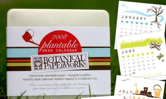 plantable eco calendar, gifts that give back, green gifts, calendar that grows, calendar 2008, green calendar, plantable gifts