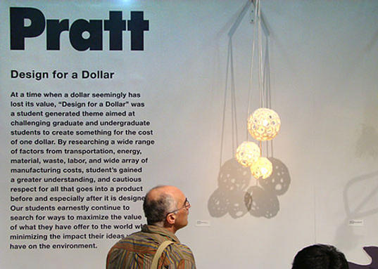 Pratt Students Design For One Dollar, Design for a dollar, Pratt Institute, Eco design, green design, sustainable design, international contemporary furniture fair, ICFF 2009, recycled design, reclaimed design, thrift design, thrifty design
