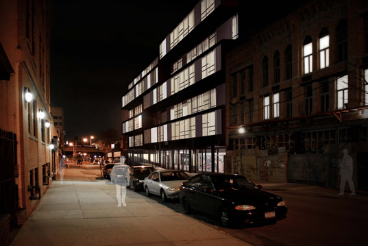 prefabricated architecture, prefab, modular architecture, garrison architects, pratt artists-in-residence modular, contemporary design student dorm, modern design student dorm, student dormitory architecture, brooklyn designs 2009, brooklyn architects prefab, brooklyn architects modular