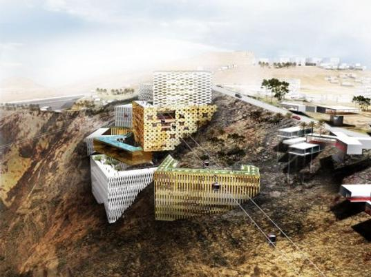 rak jebel al jais mountain resort, oma, office for metropolitan architecture, eco resort, luxury resort, desert architecture, irresponsible building