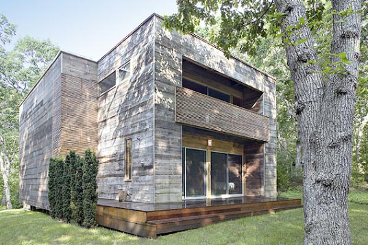 re-cover house, bates masi architects, renovated home salvaged materials, reused materials home building, conservation materials home building, sustainable building, green home building, green house, cabin green home