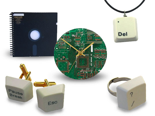 Acorn Studios Geekware, Recycled Computer Parts, Jewelry made from recycled computer parts, cufflinks made from recycled computer parts, clock made from recycled computer parts, jewelry made from keybaord keys