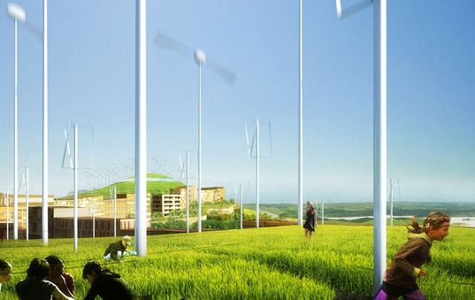 mvrdv, gras, logrono montecorvo eco city, sustainable urban design, green design, alternative energy, energy efficient, solar panels, wind turbine, carbon neutral development