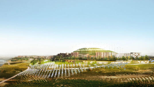 mvrdv, gras, logrono montecorvo eco city, sustainable urban design, green design, alternative energy, energy efficient, solar panels, wind turbine, carbon neutral developmentdevelopment