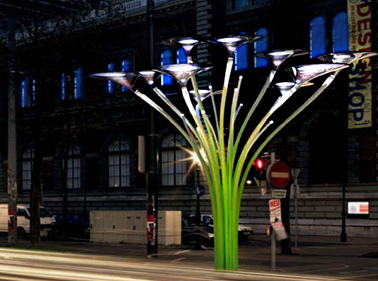 ross lovegrove solar tree, solar powered urban lighting, sustainable art project, MAK museum in Vienna, The Solar Tree, Ross Lovegrove Solar lighting, solar powered street lamp