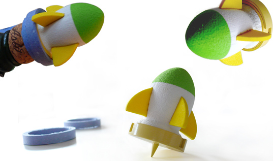 rock et roll bottle topper, eco rocket ship, eco champagne topper, sustainable design, green design, new year