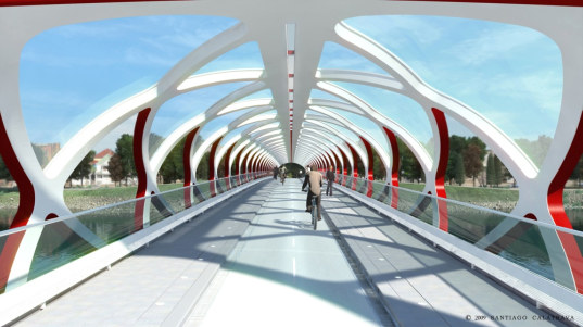 santiago calatrava, calgary peace bridge, pedestrian bridge design, bridge design, calatrava bridge design, city bicycling, livable streets, pedestrian friendly, transportation planning, city infrastructure