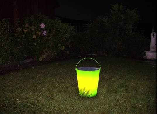 Solar bucket, solar powered bucket, solar LED energy bucket, solar power, energy bucket, LED, energy, light, saving energy