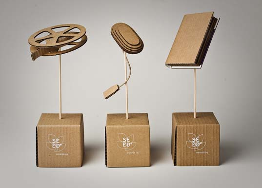 sustainable design, green design, recycled materials, awards, packaging, recycled cardboard, aiga, seed award