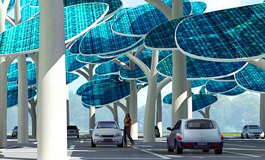 sustainable design, green design, solar forest, ev infrastructure, electric vehicle, neville mars, photovoltaic trees