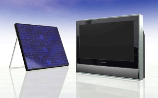 solar television, sharp solar television, solar tv, sharp tv, sharp television, sharp solar sharp triple-junction thin film solar, low-power television, ultra-low powered television