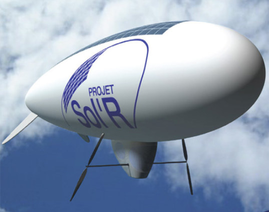 solar powered blimp, solar power, solar blimp, airship, solar airship, France, English Channel