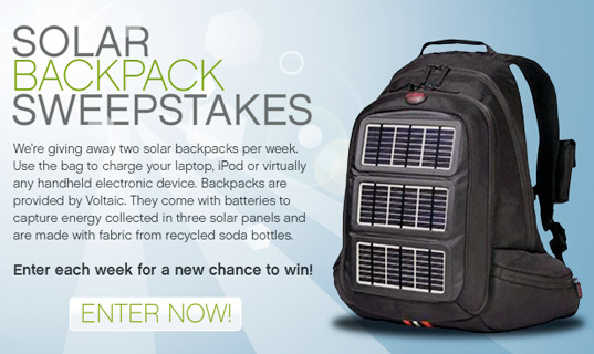 solar backpack, giveaway, contest, solar powered bag, solar bag, Planet Green