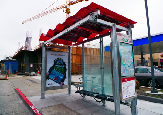 solar powered bus shelter, sustainable design, green design, lundberg design, san francisco, renewable energy, alternative energy, photovoltaic bus shelter
