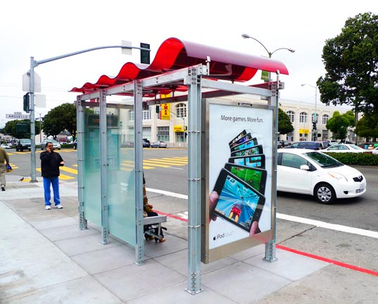 solar powered bus shelter, sustainable design, green design, lundberg design, san francisco, renewable energy, alternative energy, photovoltaic bus shelter, Olle Lundberg, Lundberg Architects, Lundberg Design