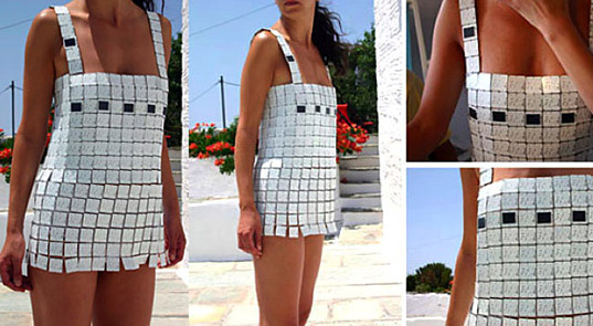 Day For Night Dress, Day For Night Solar Dress, Day For Night Solar Powered Dress, Despina Papadopoulos designer, LED tile dress, Day For Night Dress Siggraph, green gadget fashion, sustainable style, wearable technology, eco-geek style, green accessories