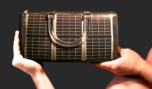 solarjo power purse, solar handbag, solar powered, alternative energy, eco fashion, solar charger, solar purse