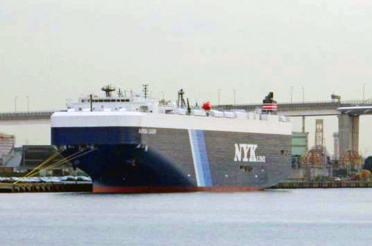 solar ship, green shipping, solar cargo ship, auriga leader, port of long beach, toyota, nyk