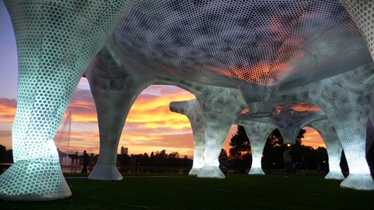 sustainable design, green design, dialog city denver, mass studies, art installations, inflatable pavilion, air forest