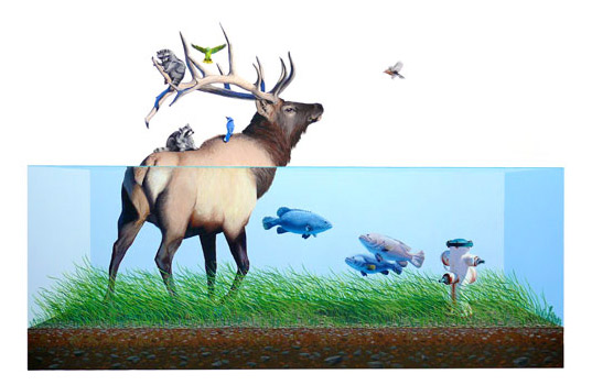 Evacuation 1, Josh Keyes, swarm gallery, san francisco environment art, san francisco art gallery, environmental art, eco art, graphic art, collage art