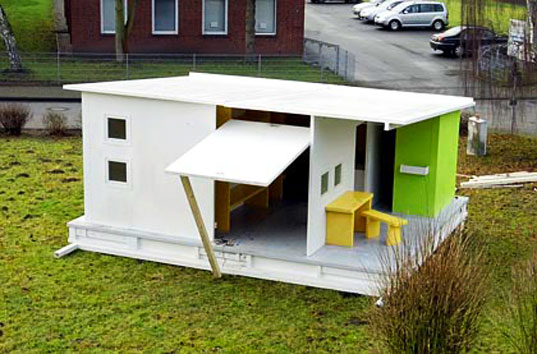 5000 recycled paper house, sustainable design, the wall ag, the universal world house, swisscell, recycled paper house, gerd niemoller, green building, design for disaster