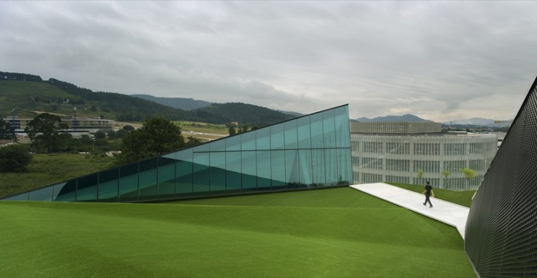 sustainable design, green design, technology center, green roof, solar panels, green building, acxt, spain, btek technology interpretation center