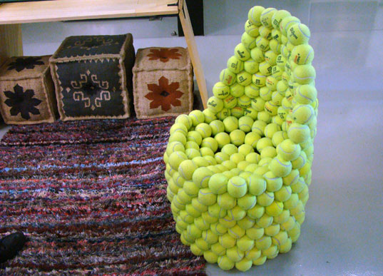tennis ball chair, bklyn designs, hugh hayden, green design, sustainable design, brooklyn, funature