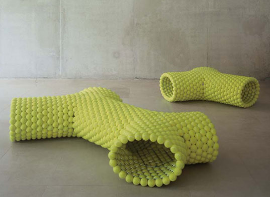 Tennis ball benches, reclaimed design, reclaimed materials, tejo remy, rene veenhuizen, remy veenhuizen, dutch design, droog